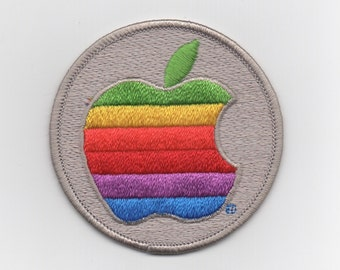 Iconic Apple Computer Rainbow Apple Crest