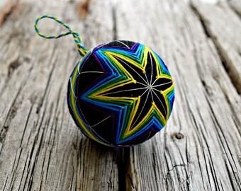 Dark Rainbow Temari Ball, Neon Star Temari, Rainbow Bright Kiku Temari, Hand Embroidered Thread Ball, Hand Stitched Temari Christmas Bauble