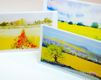 Set of three greeting cards tuscany yellow landscapes watercolour oil anniversary birthday wedding cards blank interior valentine's day