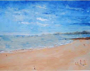 Oil landscape Perros-Guirec beach original french landscape oil french art canvas paper decor landscape wall Brittany painting france art