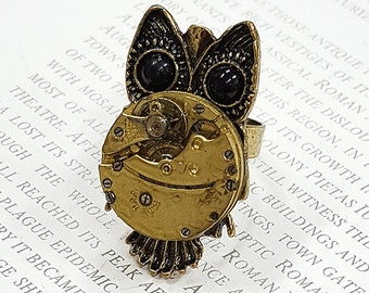Steampunk Owl Ring- -Watch Part Rings- Vintage Owls Jewelry Gift for Steampunk Loving Friend