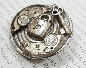 Brooch- Steampunk Key Padlock jewelry Brooches