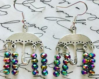 Multi colored rain umbrella earrings. Nickel free ear wires.