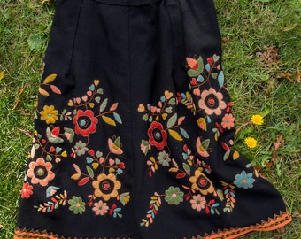 Embroidered Folkloric Skirt Vintage Wool soft fall colors on black: coral jade azure pink yellow red handstitched Magyar Matyo style OOAK