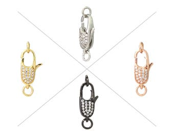 Clear CZ Pave Lobster Clasps, Pave Claw Clasp, Cubic Zircon Micro Pave on Both Sides, 18x9mm, Pkg of 1 Piece, CB15P