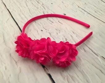 Hot Pink Satin Mesh Headband, Shocking Pink Vintage Flower, Pink Hairbow, Flower Girl, Wedding Headband, Baby Headband, Girl Headband, Adult