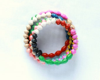 Colourful beaded band bracelet