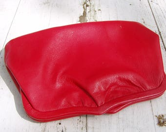 Ande' Brand Cherry Red Leather Purse with Gold Chain Strap, Black and Cream Satin Lining, 1960's