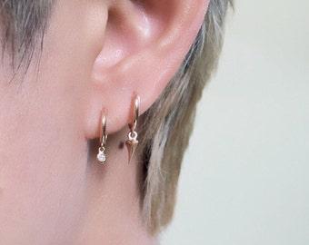 Single thorn hoop, thorn earrings, rose thorn hoop, thorn hoop, rose thorn earring, gold thorn earring, charm earring, gold thorn hoop