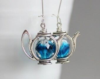 Teapot Earrings Blue Teapot Earrings Tea Earrings Blue Earrings Dangle Long Earrings Dangle Earrings Teapot Jewelry Tea Jewelry Tea Party