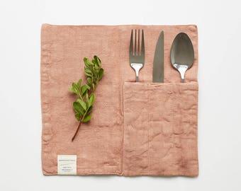 Set of 2 Cafe Creme Linen Cutlery Pocket