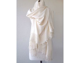 Wedding Shawl, Ivory Bridal Shawl, bridal cover up, bridal scarf, Bridesmaid Gift, best seller