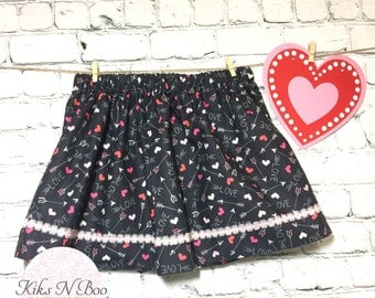Love and hearts skirt / Toddler  Skirt / Baby Skirt / Girls Skirt / 12 months / 18-24 months / 24 months/ 2t- 3t