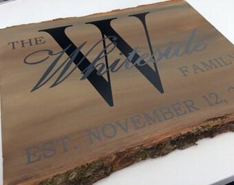 Basswood Bark Family Established Sign