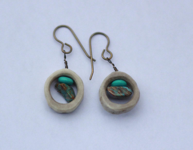 small antler dangle turquoise earrings