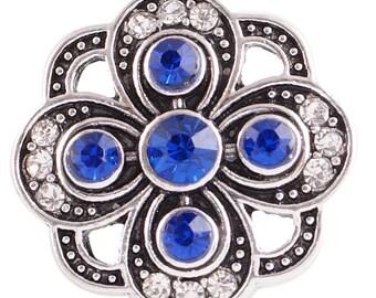 CZ Dark Blue Flower - Snap It SKC6065   Popper Chunk Snap Button Interchangeable 18mm 20mm snap