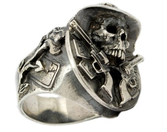 Mens 925 Sterling Silver Skull Ring Texas Cowboy Poker Cards and Guns Biker Jewelry