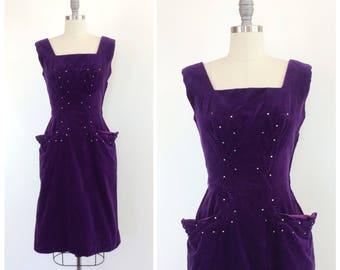 50s Purple Velvet Rhinestone Wiggle Dress / 1950s Vintage Hourglass Cocktail Dress / Medium / Size 8