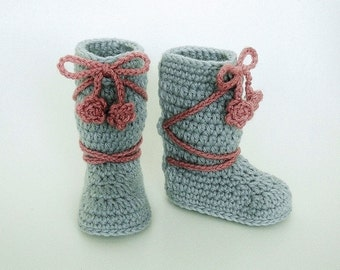 Crochet Pattern- Baby Booties, Hat, Girl, Boy, Slippers, Size Preemie, Newborn, 3 Month, 6 Month, 1 Year, MeadowvaleStudio # 135