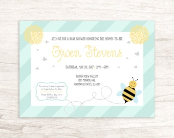 Sweet Mommy-to-Bee Baby Shower Invitation With Bumble Bee