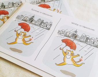 Happy Cat in Vancouver, enjoying seasons Greeting Card (5x7 size) red tabby cat dancing in rain with red umbrella