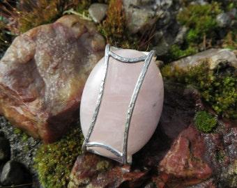 Rose Quartz, amulet, pendant, handmade,OOAK, numbered, pendant necklace, gemstone, metalsmith, metalwork, sterling, silver, quartz amulet