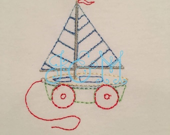 Sailboat Pull Toy Vintage Stitch Embbroidery Design 5X3