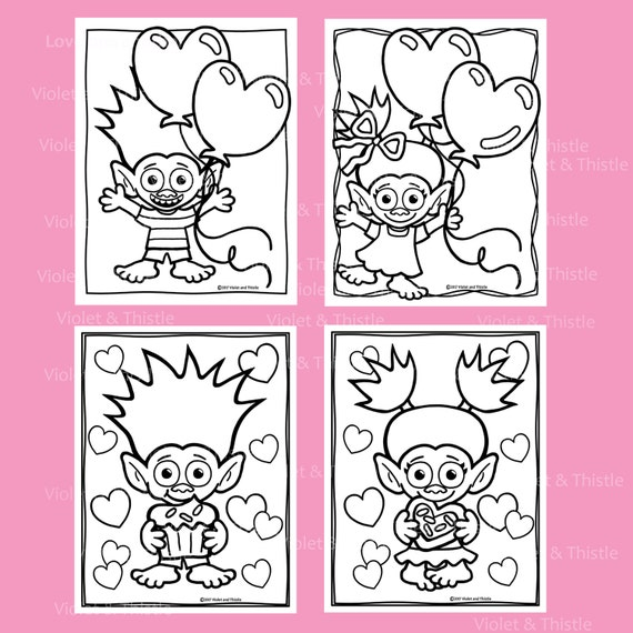 Valentine Trolls Coloring Book Pages Valentine\'s Trolls Drawing ...
