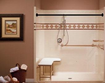 shower curtain rod plumbing pipe repurposed industrial decor bathroom decor bathroom curtain rod