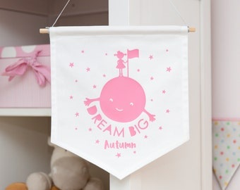 Dream Big Personalised Girls Wall Banner // Wall Decor // Personalised // Wall Banner // Wall Flag