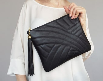 Black leather clutch. Leather clutch bag. Evening clutch purse. Quilted leather clutch bag.