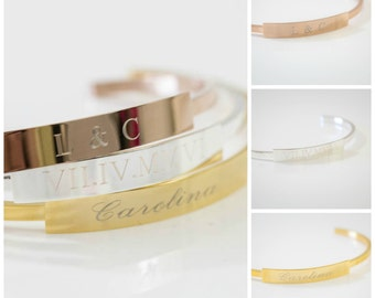 Name ID Bracelet | Personalized Bangle | Cuff Bracelets | Bridesmaid Jewelry | Bridesmaid Gifts | Custom Name Bracelet | Engraved Cuff