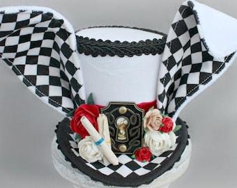 White Rabbit Mini Top Hat, White Rabbit Costume Fascinator, Birthday Hat, Alice in Wonderland Hat, Tea Party Hat, Wedding Hat, Boys Top Hat