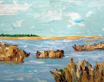 Golden Marsh, southern coastal landscape, original painting, wall art, home decor, gift