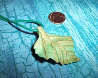 Birch leaf Pendant, Hand Carved from Birch wood.
