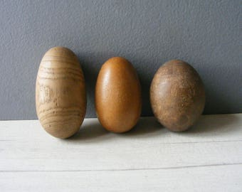 EASTER /Set of 3 Antique Wooden Darning Eggs/EASTER Decor/Antique wooden tool.