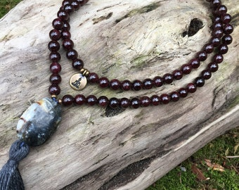 SALE Garnet Mala with Mixed Quartz Stone Mala Yoga Beads Meditation Prayer Beads Yoga Inspired Necklace yc223