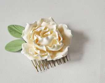 Bridal hair comb Wedding hair comb Ivory flower bridal comb hair comb Wedding hair piece Headpiece wedding fascinator Flower comb Clay