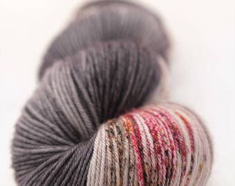 Hand-dyed yarn - sock yarn - superwash - merino - dyed-to-order - speckles - GRAPHITE