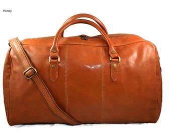Duffle bag genuine leather shoulder bag honey mens ladies travel bag gym bag luggage made in Italy woman weekender duffle overnight carryon