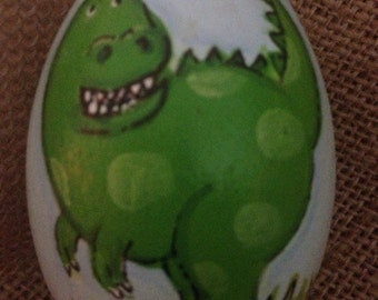 "3.25"" Dinosaur egg, Easter egg, wooden egg, personalized egg"