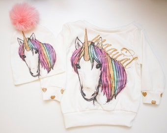 Unicorn Slouchy Long Sleeve Shirt for Babies and Toddlers
