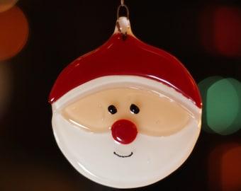 Fused Glass Santa Ornament Decoration