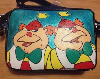 Tweedle Dum And Tweedle Dee Inspired Hand Painted Handbag