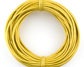 Yellow Metallic Round Leather Cord 1.5mm - 10 Feet