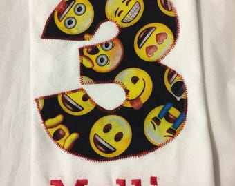 EMOJI EMOTICON BIRTHDAY Shirt, Girls Smiley face fabric personalized tshirt, Boys Gift, Present, Favor, Number and Name