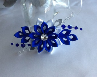 Hair Clip - Cobalt Blue Royal Blue Dark Blue White Kanzashi Flower With Bicone Crystal Beads Wedding Flowers Hair Accessories