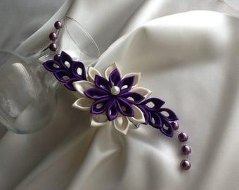 Hair Clip - Dark Purple Ivory Kanzashi Flower with Pearls Wedding Hair Flowers