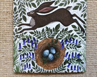 Spring Hare Greetings Card