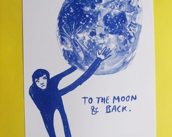 To the Moon and Back A4 Risograph Print